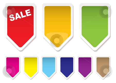Price tag icons stock vector clipart, Collection of brightly coloured price tag icons blank by Michael Travers