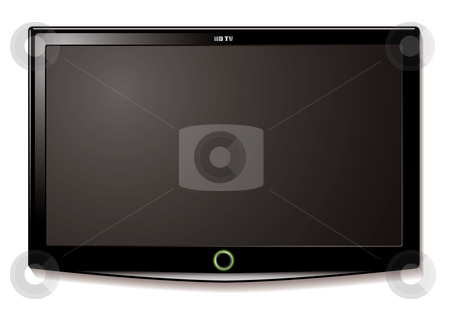 LCD TV wall hang stock vector clipart, Black LCD tv screen hanging on a wall with shadow by Michael Travers