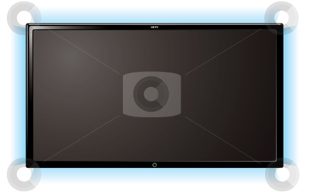 Lcd television glow stock vector clipart, Modern lcd flat screen television with blue outer glow by Michael Travers
