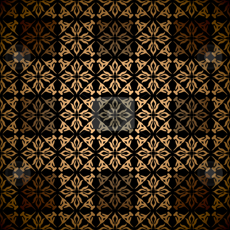 Gold square victorian stock vector clipart, Gold floral abstract seamless wallpaper pattern background by Michael Travers