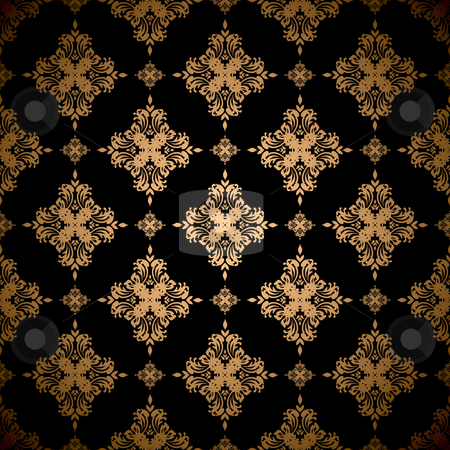 Golden floral background stock vector clipart, Gold floral abstract seamless wallpaper pattern background by Michael Travers