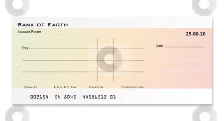 Bank cheque stock vector clipart, Illustrated bank cheque with room for your own details by Michael Travers