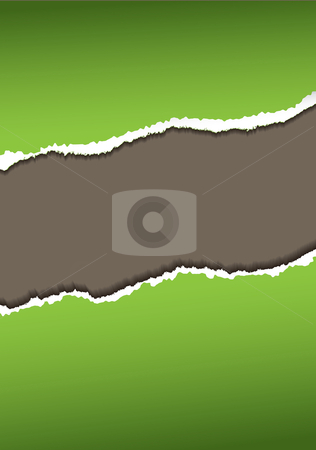 Green paper tear stock vector clipart, Abstract green paper tear or rip background with rough edges by Michael Travers