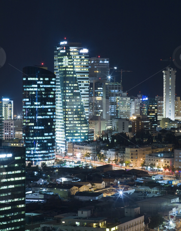 The Tel aviv skyline - Night city stock photo, Tel Aviv Central business district - Tel Aviv Office Building by Dmitry Pistrov