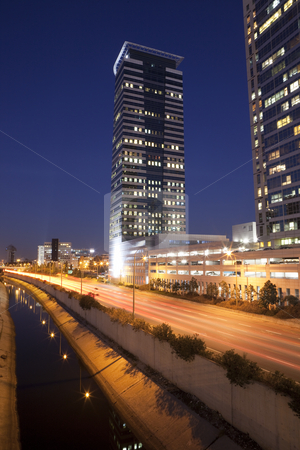 The Tel Aviv night city stock photo, The Tel Aviv night city, Business centre , Ayalon freeway by Dmitry Pistrov