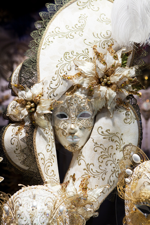 Carnival mask stock photo, Ventian Carnival Mask in shop window by Dmitry Pistrov