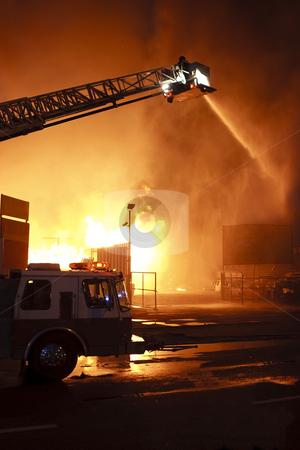 Danger work stock photo, Silhouette of firefighters -  fire truck by Dmitry Pistrov