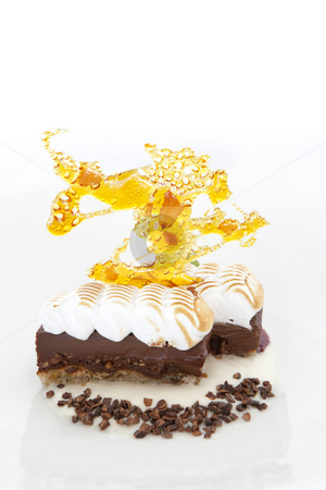 Sweet desert  stock photo, Coconut and chocolate cream on a bed of coconut cream with a crispy twill by Dmitry Pistrov