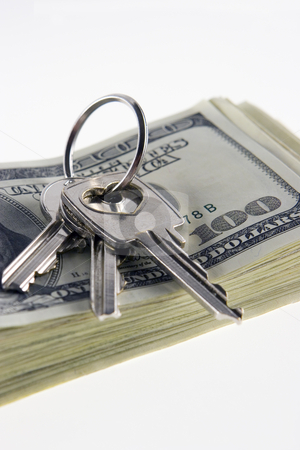 Key&money stock photo, Money and keys from an apartment on a white background by Dmitry Pistrov