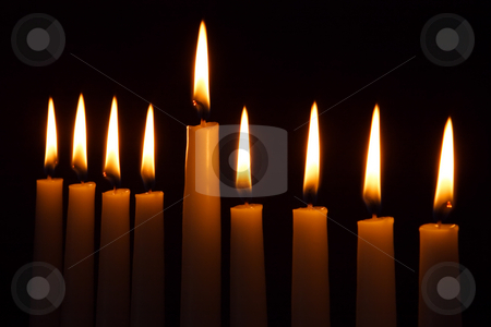 Hanukkah Candles stock photo, Hanukkah candles all candle light on the traditional Hanukkah menorah by Dmitry Pistrov