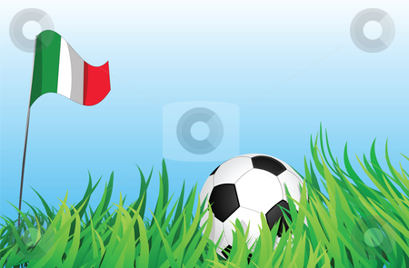 Soccer playground, italy stock vector clipart, An illustrations of soccer ball, with italy flag waving at the background. by Mtkang