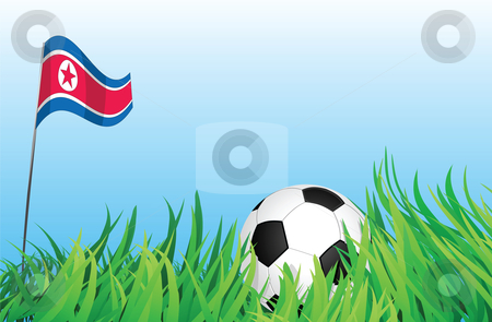 Soccer playground, north korea stock vector clipart, An illustrations of soccer ball, with a north korea flag waving at the background. by Mtkang