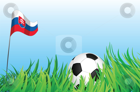 Soccer playground, slovakia stock vector clipart, An illustrations of soccer ball, with a slovakia flag waving at the background. by Mtkang