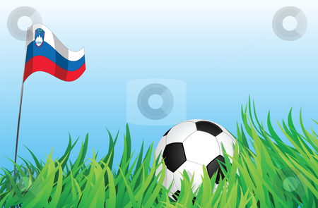 Soccer playground, slovenia stock vector clipart, An illustrations of soccer ball, with a slovenia flag waving at the background. by Mtkang