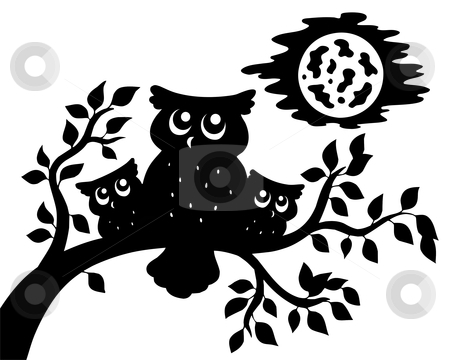 Silhouette of three owls on branch stock vector clipart, Silhouette of three owls on branch - vector illustration. by Klara Viskova