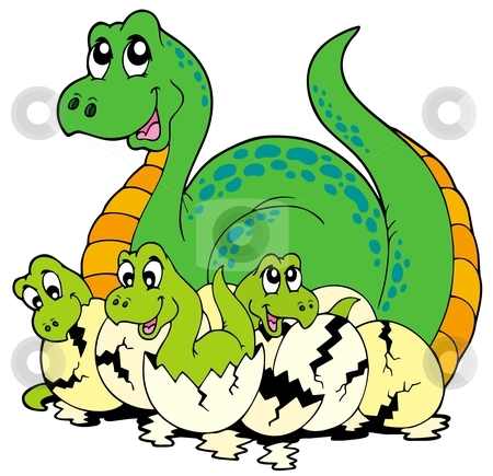 Baby Picture Book on Dinosaur Mom With Cute Babies Stock Vector Clipart  Dinosaur Mom With