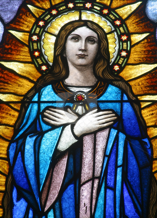 Virgin Mary stock photo, Stained glass with Virgin Mary by Zvonimir Atletic
