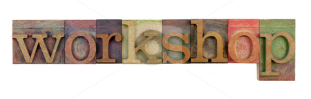 Workshop stock photo, The word workshop in vintage wood letterpress type blocks, stained by color ink, isolated on white by Marek Uliasz