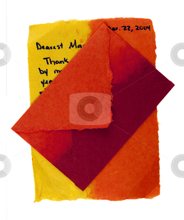 Love letter stock photo, Love ot thank you letter with envelope , color handmade paper, isolated on white by Marek Uliasz
