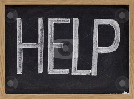 Help stock photo, The word help - big letters in white chalk on blackboard by Marek Uliasz