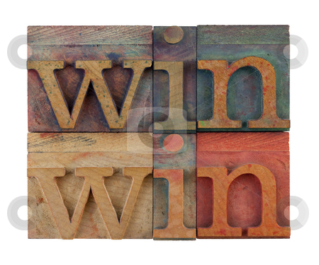 Win-win strategy  stock photo, Win win strategy or conflict resolution concept - vintage wooden letterpress type blocks, stained by color ink, isolated on white, square composition by Marek Uliasz