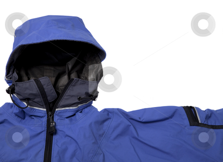 Waterproof breathable paddling jacket  stock photo, A detail of blue waterproof breathable paddling jacket  with hood, isolated on white by Marek Uliasz