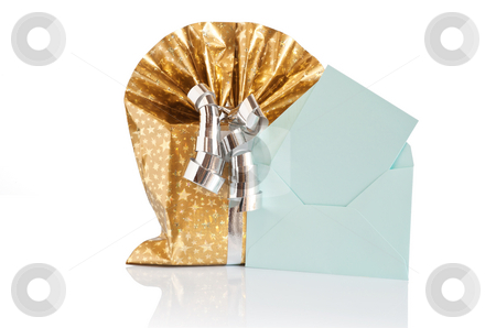 Gift box with letter stock photo, Golden gift box with silver ribbon and green letter  isolated on white background with clipping path by ANTONIO SCARPI