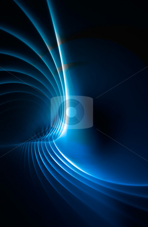 Blue Fractal Plasma Background stock photo, A blue fractal backdrop with abstract glowing lines of plasma. by Todd Arena