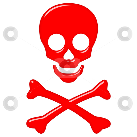 3D Skull and Crossbones stock photo, 3d skull and crossbones isolated in white by Georgios Kollidas