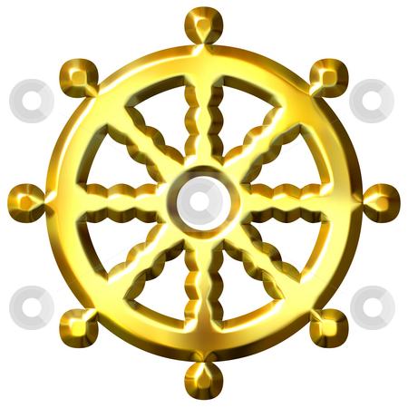 3D Golden Buddhism Symbol Wheel of Dharma stock photo, 3d golden Buddhism symbol Wheel of Dharma isolated in white. Represents Buddha's teaching of the path to enlightenment, by Georgios Kollidas