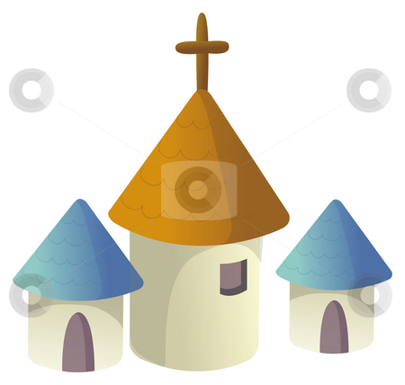 House and crucifix stock photo, Illustration drawing of house with  crucifix in a white background by Su Li