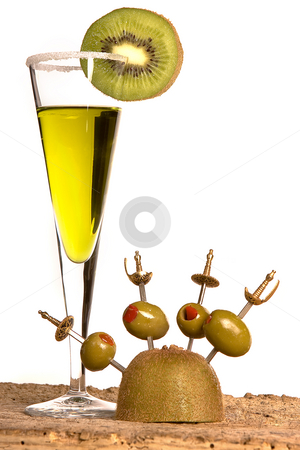 Green cocktail stock photo, Green cocktail with kiwi slice and olives on sword sticks by Anneke