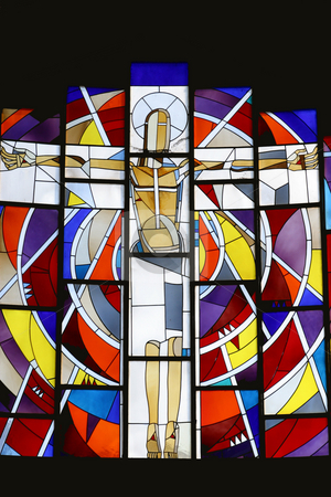 Christ's on the cross stock photo, Christ's on the cross, stained glass by Zvonimir Atletic