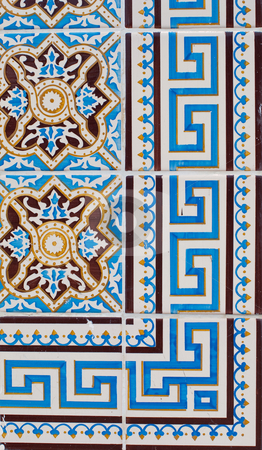 Portuguese glazed tiles 216 stock photo, Detail of Portuguese glazed tiles. by Homydesign 