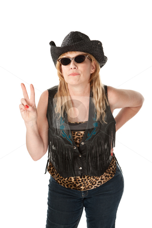Peace stock photo, Funny cowgirl with hat and sunglasses on white background by Scott Griessel