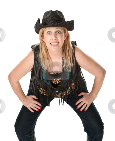 Funny Biker Woman stock photo, Middle-aged woman in biker outfit posing for a picture by Scott Griessel