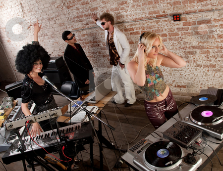 1970s Disco Music Party stock photo, Female DJs performing at a 1970s Disco Music Party by Scott Griessel