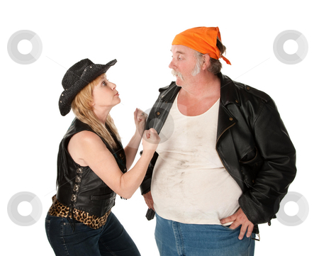 Serious argument stock photo, Biker couple engaged in a serious argument by Scott Griessel