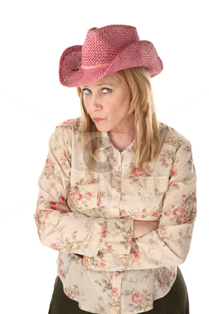 Cowgirl stock photo, Cowgirl with pink hat on white background by Scott Griessel