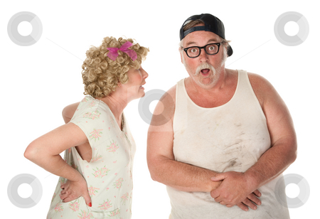 Couple fighting or sharing shocking secret stock photo, Bickering wife confronting husband on white background by Scott Griessel