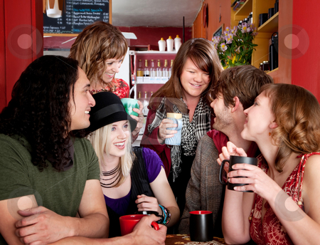 Happy friends stock photo, Group of six happy friends at a cafe by Scott Griessel