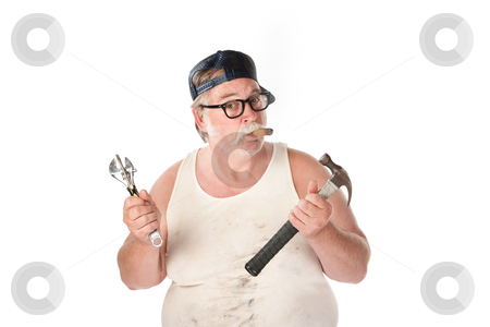 Hapless handyman stock photo, Fat man in tee shirt with multiple tools by Scott Griessel