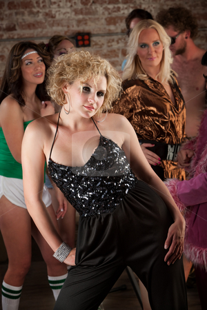 1970s Disco Music Party stock photo, Sexy blond woman in black dress at a 1970s Disco Music Party by Scott Griessel