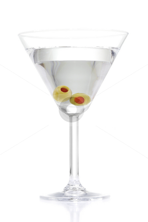 Martini stock photo, Stock image of Martini with two olives over white background by iodrakon