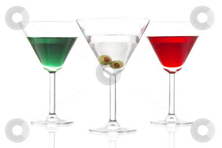 Martinis stock photo, Stock image of Martinis over white background, includes, appletini, red apple martini  and dry martini, colors based on the flags from Mexico, Ireland, and Italy. by iodrakon