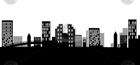 Urban silhouette stock photo, Illustration drawing of black urban silhouette,used as background by Su Li