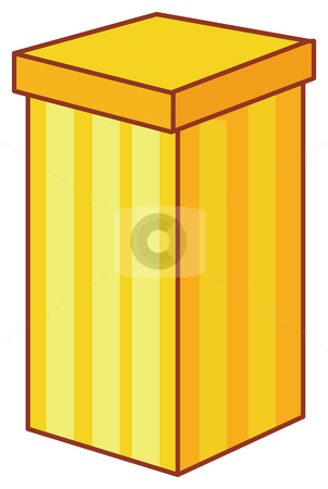 Gift box stock photo, Illustration drawing of a yelow gift box isolate in a white background by Su Li