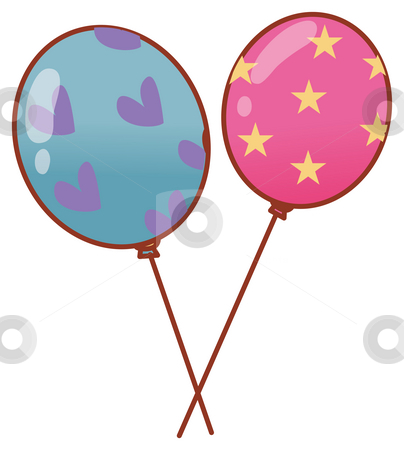 Balloon stock photo, Illustration drawing of two color ballons in a white background by Su Li