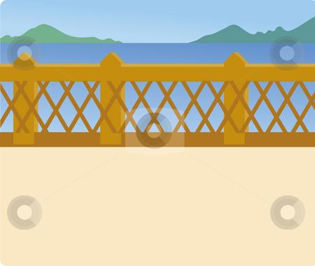 Blue lake and bridge stock photo, Illustration drawing of a blue lake and bridge by Su Li
