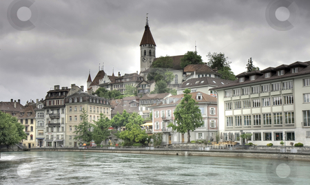 Panorama of Thun in HDR stock photo, Panorama of Thun on a cloudy day, Lake Thun, Switzerland by Juergen Schonnop